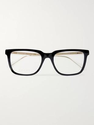 Gucci Square-Frame Acetate And Gold-Tone Optical Glasses - Men - Black