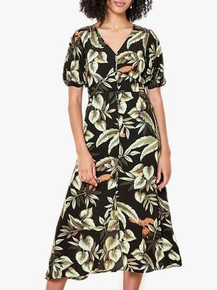 Oasis Parrot Floral Midi Dress, Multi