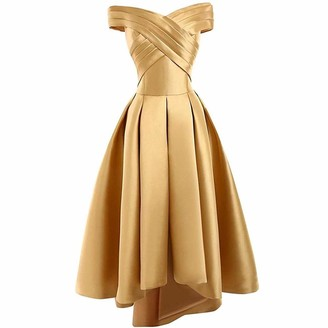 vipgowns Hi-Low Off Shoulder Prom Dress Satin Evening Gown Bridesmaid Dress Formal Party Dress Gold