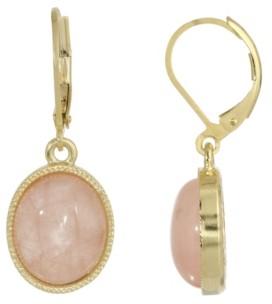 2028 14K Gold Plated Rose Quartz Semi Precious Oval Drop Earrings