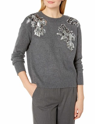 Vince Camuto Women's Long Sleeve Embellished Floral Sweater