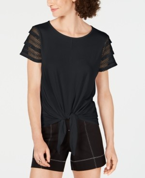 INC International Concepts Inc Petite Lace-Sleeve Tie-Front Top, Created for Macy's