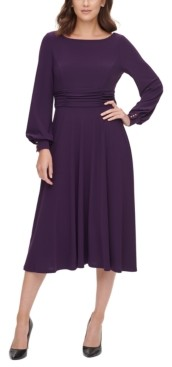 Jessica Howard Ruched-Waist Balloon-Sleeve Dress