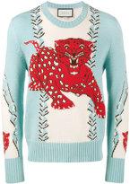 Gucci Leopard intarsia sweater - men - Wool - XS