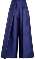 SOLACE London Aria Cropped Charmeuse Wide-leg Pants - Navy