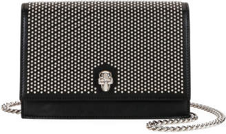 Alexander McQueen Small Micro-Studded Flap Crossbody Bag with Skull