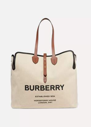 Burberry Belt Large Leather-trimmed Logo-print Canvas Tote - Beige