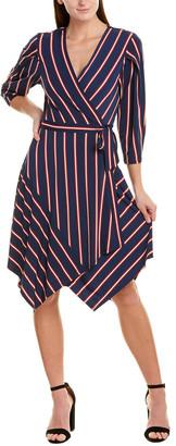BCBGMAXAZRIA Pleated Sleeve Wrap Dress