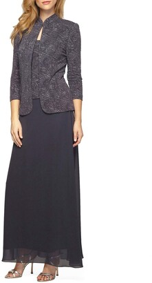 Alex Evenings Women's Petite Jacquard Knit Long Dress and Mandarin-Neck Jacket