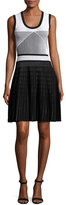 Prabal Gurung Sleeveless Two-Tone Knit Dress, Black/White