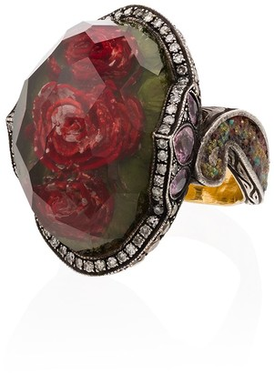 Sevan Biçakci 24kt Yellow Gold Rose Quartz Sapphire Diamond Ring