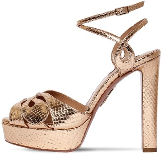 Aquazzura 120mm Gardena Embossed Leather Sandals