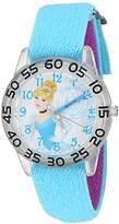 Disney Girl's 'Cinderella' Quartz Plastic and Nylon Watch, Color:Blue (Model: W002933)