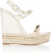 Christian Louboutin Women's Studded Cataclou Platform Espadrille Sandals-GOLD