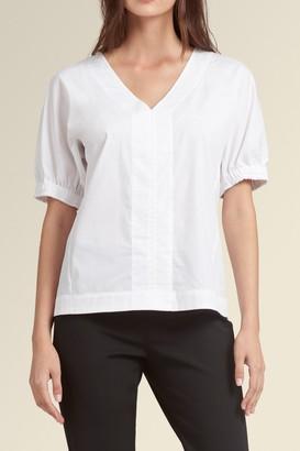 Donna Karan Puff Sleeve V-Neck Blouse