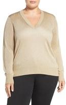 MICHAEL Michael Kors Elliptical Hem Metallic V-Neck Sweater (Plus Size)
