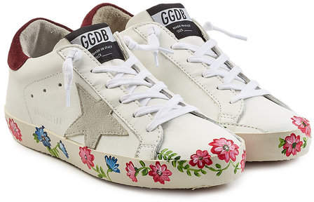 Golden Goose Super Star Leather Sneakers with Printed Sole
