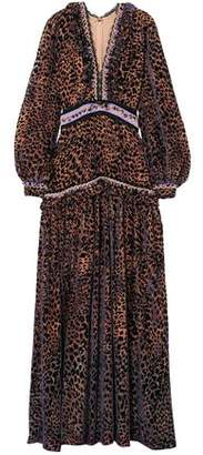 Costarellos Ruffle-trimmed Leopard-print Devore-chiffon Gown