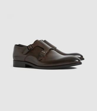 Reiss Gelder - Leather Double Monk Strap Shoes in Dark Brown