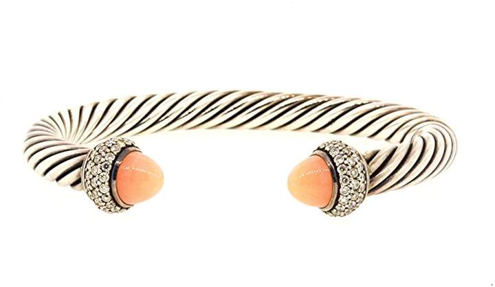 David Yurman 925 Sterling Silver with Diamond and Rose Quartz Cable Cuff Bracelet