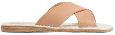 Ancient Greek Sandals Thais Shearling-lined Leather Slides