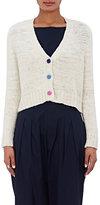The Elder Statesman Women's Cashmere Crop Cardigan-WHITE