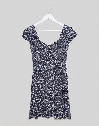 Brave Soul button through smock dress in ditsy print