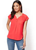 New York & Co. Soho Soft Shirt – Hi-Lo Split-Neck Blouse