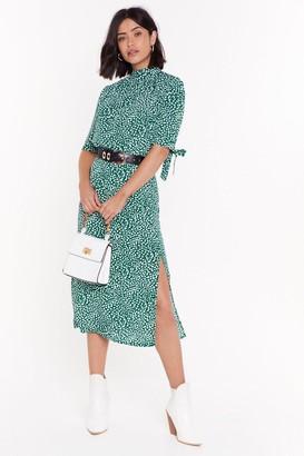 Nasty Gal Womens Can You Spot Split Midi Skirt - Green - 6