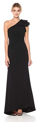 Carmen Marc Valvo Women's One Gown with Ruffle on Shoulder