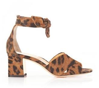 Marion Parke Bella | Leopard Suede Block Heel Ankle Tie Sandal