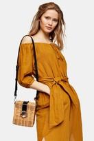 Topshop Womens Sand Linen Blend Belted Bardot Midi Dress - Sand