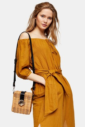 Topshop Womens Sand Linen Blend Belted Bardot Midi Dress - Sand