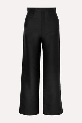 Totême Flair Cropped Woven Wide-leg Pants - Black