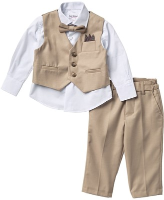 Isaac Mizrahi Solid Cotton Vest Suit Set - 4-Piece Set (Toddler, Little Boys & Big Boys)