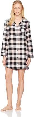 Mae Amazon Brand Women's Sleepwear Cozy Flannel Notch Collar Sleep Shirt