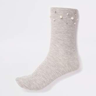 River Island Womens Grey pearl trim socks