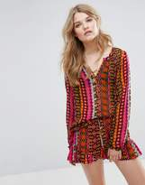 Maison Scotch Viscose Sheer Tunic Top In Various Bright Prints