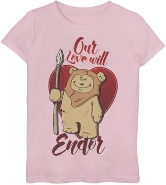 """Star Wars Girls 7-16 Ewok """"Love Will Endor"""" Valentine's Graphic Tee"""