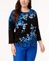 Alfred Dunner Plus Size Cotton Embellished Sweater
