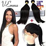 "V-Emma 360 Full Lace Band Frontal Closure With 2 Bundles Straight Hair Grade Brazilian Virgin Hair Straight With 360 Frontal Closure 18 20 + 18""frontal Middle Part"
