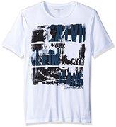 Calvin Klein Jeans Men's Distressed Ck Logo Crew Neck T-Shirt