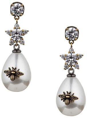 Eye Candy La Luxe Queen Bee 19MM Man Made Pearl Drop Earrings