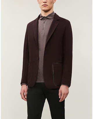 Corneliani Logo-embroidered long-sleeve cotton-piqué polo shirt