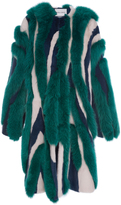 Prabal Gurung Striped Mink and Fox Fur Coat