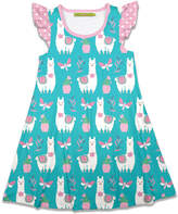 Millie Loves Lily Girls' Casual Dresses Llamas - Turquoise Llamas & Butterflies Angel-Sleeve A-Line Dress - Toddler & Girls