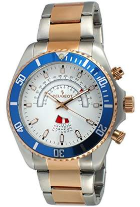 Peugeot Mens Rose Gold and Stainless Steel Circular Calendar Watch