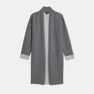 Theory Open Front Cardigan in Double-Face Wool