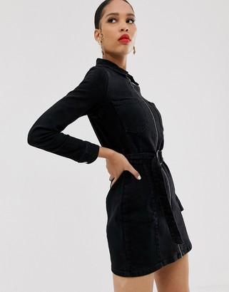 Bershka denim shirt dress in black