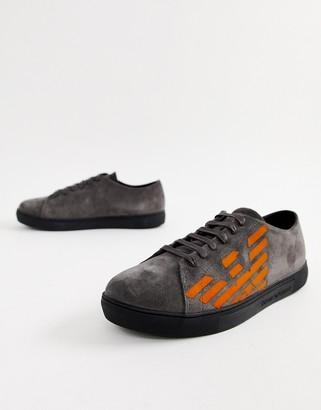 Emporio Armani contrast logo suede sneakers in gray
